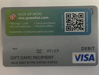 12_7_17 Visa Gift Card