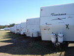 FEMA Trailer Lot Featuring Coachmen Trailer
